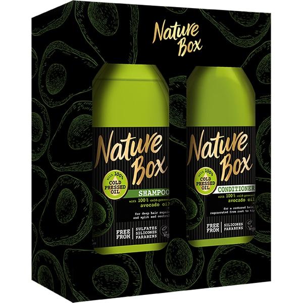 Set cadou NATURE BOX Avocado: Sampon, 385ml + Balsam de par, 385ml