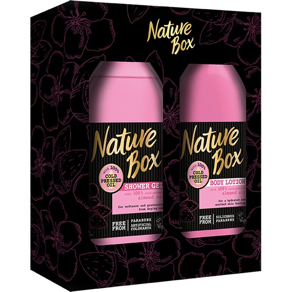 Set cadou NATURE BOX Almond Oil: Gel de dus, 385ml + Lotiune de corp, 385ml
