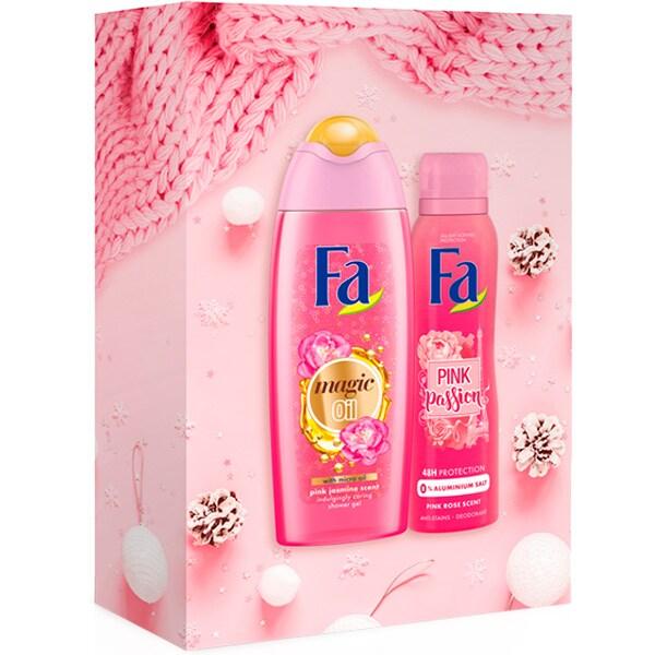 Set cadou FA Pink Jasmin & Pink Passion: Gel de dus, 250ml + Deodorant spray, 150ml