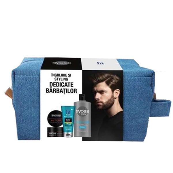 Set cadou Fa Men: Sampon Syoss Men Clean&Cool, 440ml + Gel de dus FA Aqua Deep, 200ml + Crema modelatoare pentru par SYOSS Matt Fibre, 100ml