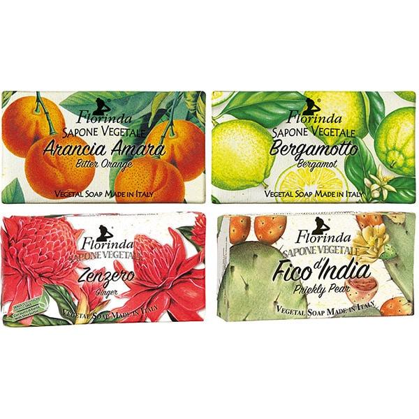 Pachet promo LA DISPENSA Florinda: Sapun cu ghimbir, 100g + Sapun cu fruct de cactus, 100g + Sapun cu portocale amare, 100g + Sapun cu flori de bergamota, 100g
