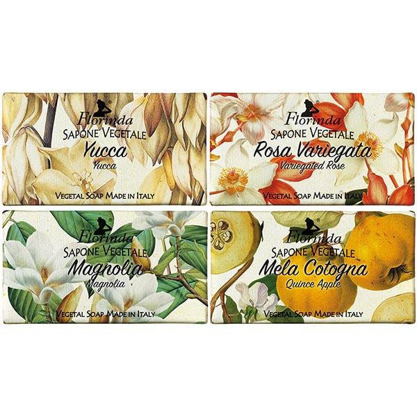 Pachet promo LA DISPENSA Florinda: Sapun cu magnolie, 100g + Sapun cu gutui, 100g + Sapun cu trandafir pestrit, 100g + Sapun cu yucca, 100g