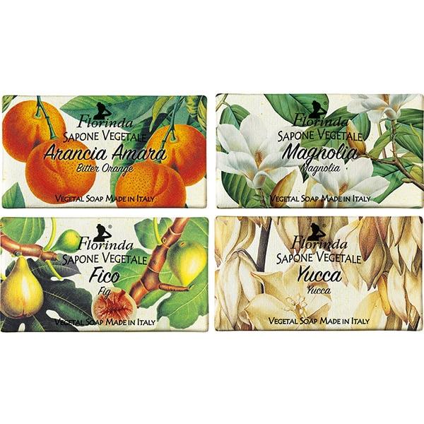 Pachet promo LA DISPENSA Florinda: Sapun cu Yucca, 100g + Sapun cu magnolie, 100g + Sapun cu smochine, 100g + Sapun cu portocale amare, 100g