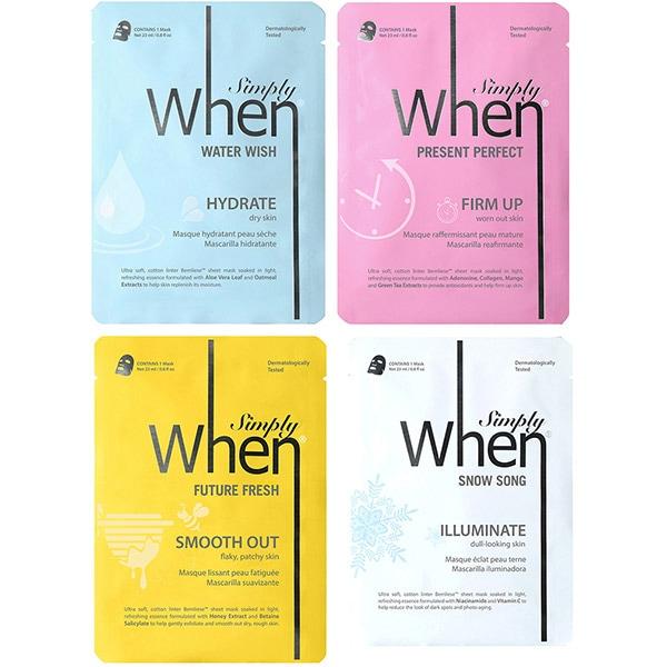 Pachet promo WHEN Coreene Simply: Masca de fata Future Fresh, 23ml + Masca de fata Present Perfect, 23ml + Masca de fata Snow Song, 23ml + Masca de fata Water Wish, 23ml