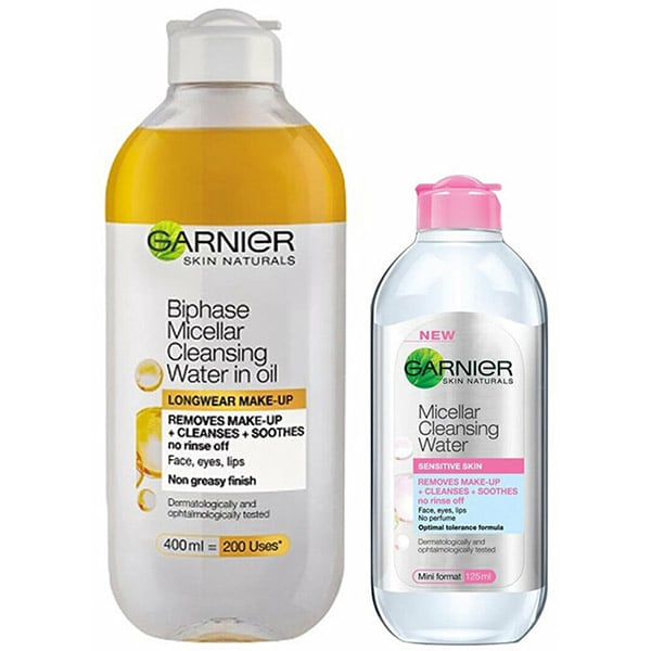 Pachet promo GARNIER Skin Naturals: Apa micelara bifazica, 400ml + Mini apa micelara pentru ten sensibil, 125ml