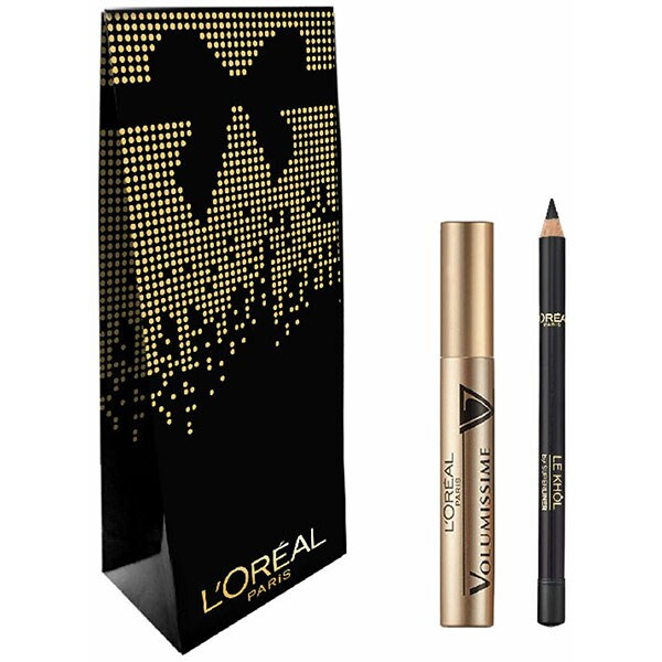 Set cadou L'OREAL PARIS: Mascara Volumissime, Black, 7.5ml + Creion de ochi Superliner Le Khol, 101 Midnight Black, 1.2g