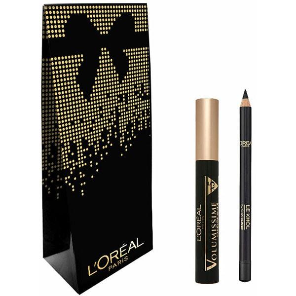 Set cadou L'OREAL PARIS: Mascara Volumissime, Extra Black, 7.5ml + Creion de ochi Superliner Le Khol, 101 Midnight Black, 1.2g