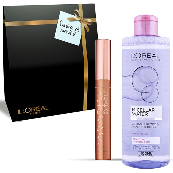 Set cadou L'OREAL PARIS: Apa micelara pentru ten uscat, 400ml + Mascara Paradise Extatic, Black, 6.4ml