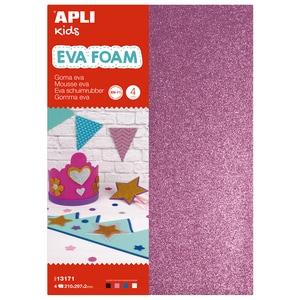Spuma eva cu sclipici APLI, 21 x 29.7 x 0.2 cm, 4 coli, diverse culori