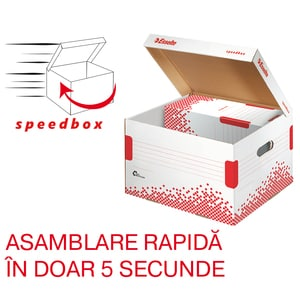 Cutie de arhivare ESSELTE Speedbox, 433 x 263 x 364 mm, carton, 1 bucata, alb