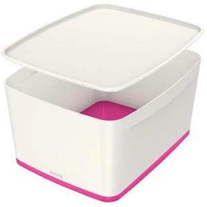 Cutie organizare LEITZ MyBox, 318 x 198 x 385 mm, ABS, alb-roz