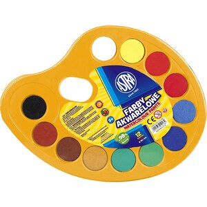 Acuarele cu pensula inclusa ASTRA, Diametru 30 mm, 12 culori