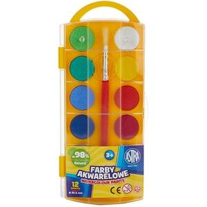 Acuarele cu pensula inclusa ASTRA, Diametru 23.5 mm, 12 culori