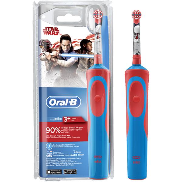 Periuta de dinti electrica ORAL-B D12.513 Vitality Star Wars pentru copii,7600 oscilatii/min, Curatare 2D, 1 program, 1 capat, rosu-albastru