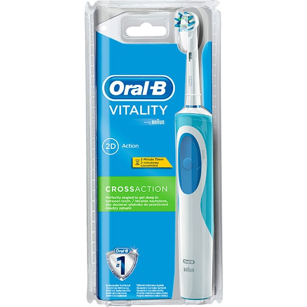 Periuta de dinti electrica ORAL-B Vitality D12 Cross Action, 1 program, 7600 miscari/min, 1 capat, alb-albastru