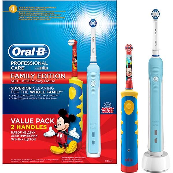 Set Periuta de dinti electrica ORAL-B PRO 500,  Curatare 3D, 1 program, 20000 pulsatii/min, 2 capete, albastru + Periuta de dinti electrica pentru copii ORAL-B Mickey Mouse