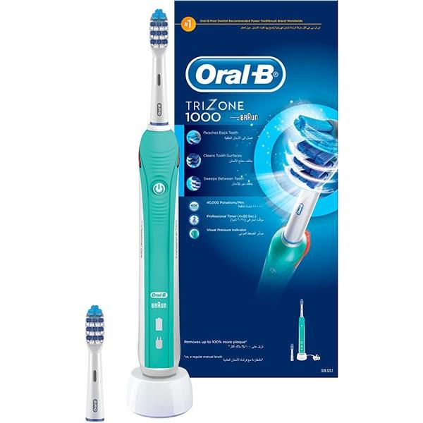 Periuta de dinti electrica ORAL-B TriZone 1000, 1 program, 40000 pulsatii/min, 2 capete, alb-verde
