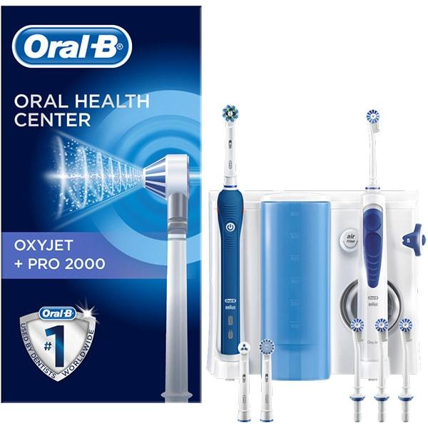 Set Periuta de dinti electrica ORAL-B Pro 2000, 40000 pulsatii/min, 2 programe, 6 capat, albastru + Irigator bucal Oxyjet