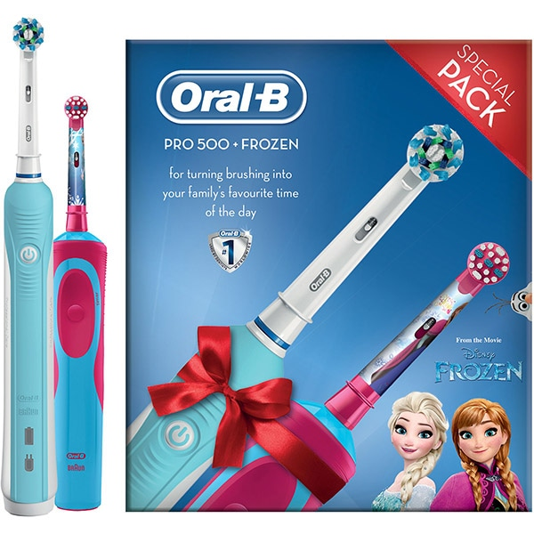 Set Periuta de dinti electrica ORAL-B PRO 500 Cross Action, Curatare 3D, 1 program, 20000 pulsatii/min, 1 capat, albastru + Periuta de dinti electrica pentru copii ORAL-B D100 Vitality Frozen