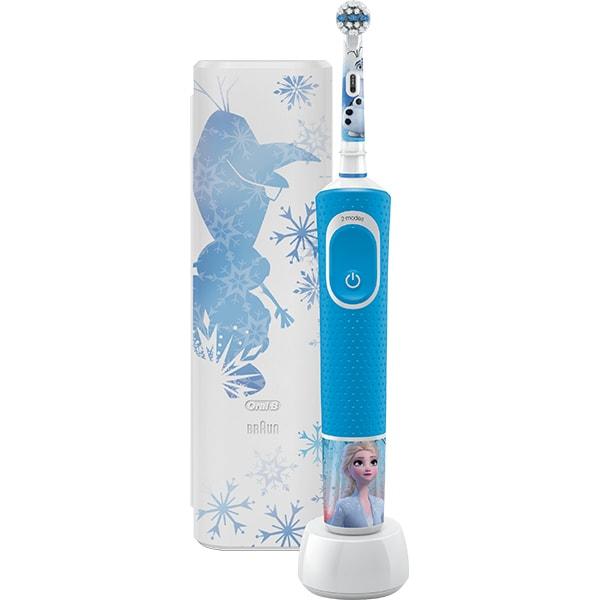 Periuta de dinti electrica pentru copii ORAL-B Vitality Frozen 81746374, 7600 oscilatii/min, Curatare 2D, 2 programe, 1 capat, albastru