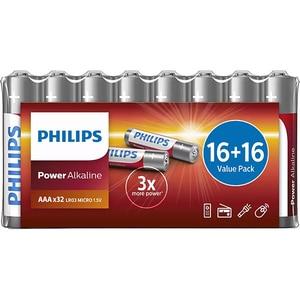 Baterii alcaline PHILIPS LR03, AAA, 32 bucati