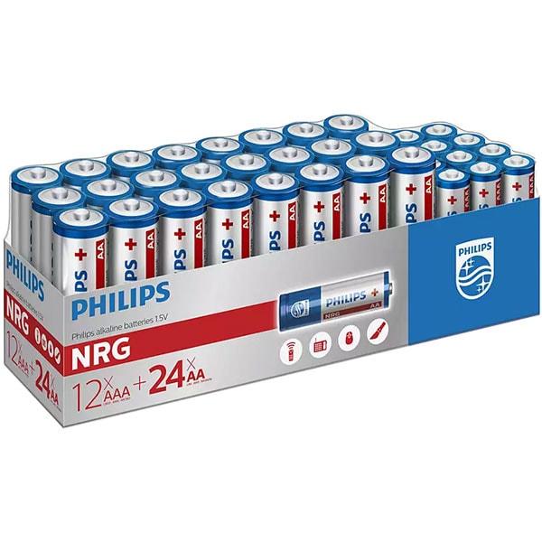 Pachet baterii alcaline PHILIPS LR03 (AAA) 12 bucati, LR6 (AA) 24 bucati