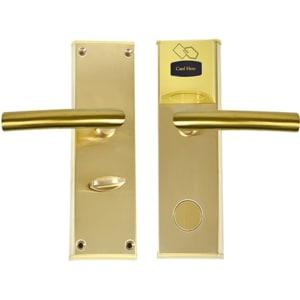 Yala control acces hotelier PNI CH2000R, cu cititor de card, deschidere dreapta, auriu