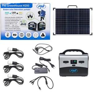 Sistem solar fotovoltaic portabil PNI GreenHouse H200, 30W, USB, 12V, 230V, 3 becuri