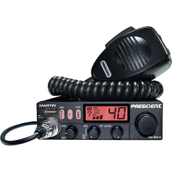 Statie radio CB PRESIDENT Martin, 4W, ASQ reglabil, AF-FM