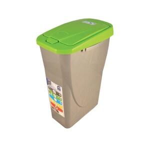 Cos de gunoi cu capac PLASTOR Eco Bin, colectare selectiva, 25 L, verde