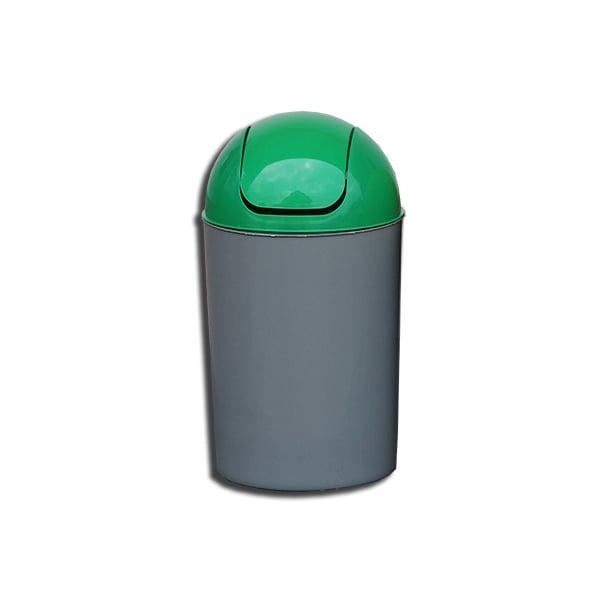 Cos de gunoi cu capac PLASTOR Flip-Flap, colectare selectiva, 12 L, verde