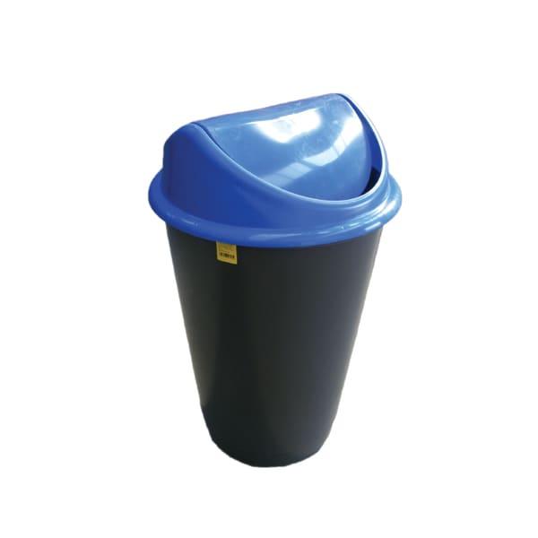 Cos de gunoi cu capac PLASTOR Flip-Flap, colectare selectiva, 60 L, albastru