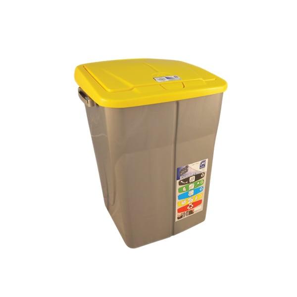 Cos de gunoi cu capac PLASTOR Eco Bin, colectare selectiva, 45 L, galben