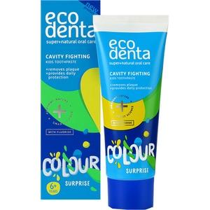 Pasta de dinti impotriva cariilor cu aroma de banane ECODENTA Color surprize, 6 ani +, 75ml