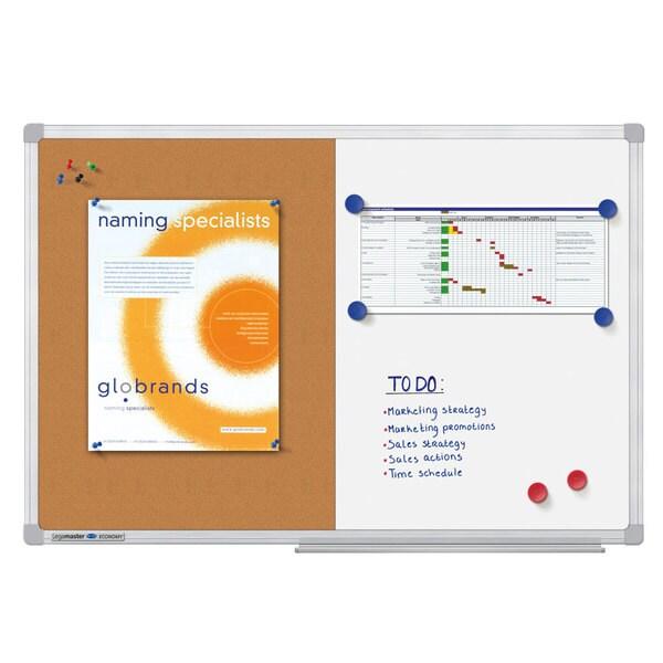 Tabla Combi 2 in 1 LEGAMASTER Economy, 90 x 120 cm, alb-maro