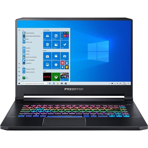 "Laptop Gaming ACER Predator Triton 500 PT515-52, Intel Core i7-10750H pana la 5.0GHz, 15.6"" Full HD, 16GB, SSD 1TB, NVIDIA GeForce RTX 2070 8GB, Windows 10 Home, negru"