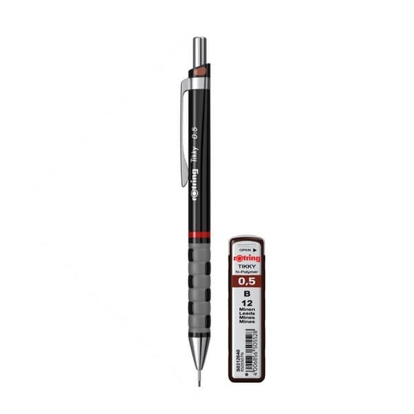 Set creion mecanic + mina ROTRING TikkyIII Original, 0.5 mm, negru