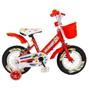 "Bicicleta copii RICH R1208A, 12"", rosu-alb"