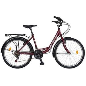 "Bicicleta de sosea RICH City R2432A, 24"", cadru otel, visiniu-alb"
