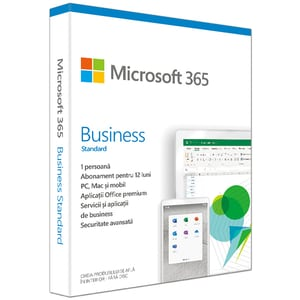 Microsoft 365 Business Standard 2019, Engleza, Subscriptie 1 an, 1 PC/Mac, 1 Telefon, Windows, Mac, Android, iOS