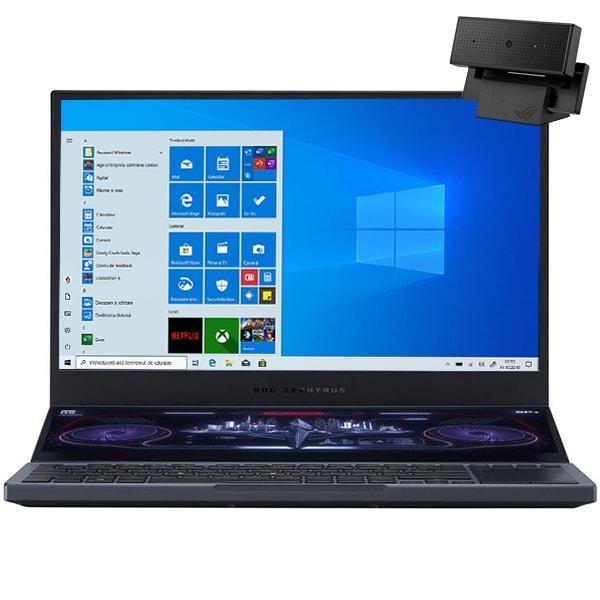 "Laptop Gaming ASUS ROG Zephyrus Duo 15 GX550LXS-HF088T, Intel Core i9-10980HK pana la 5.3GHz, 15.6"" Full HD, 32GB, SSD 1TB, NVIDIAGeForceRTX2080 Super8GB, WebCam, Windows 10 Home, gri inchis"