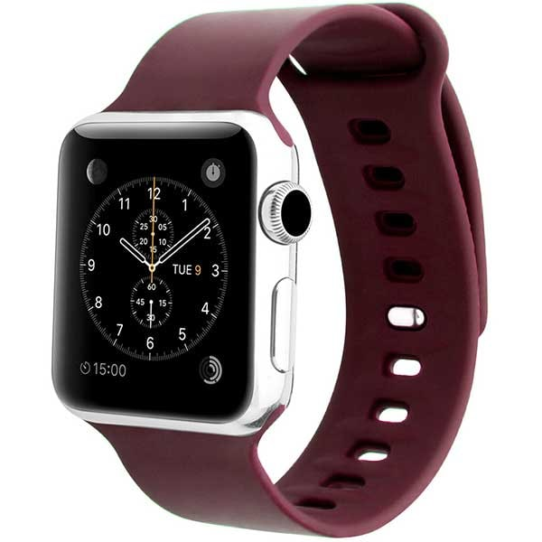 Bratara pentru Apple Watch 42mm/44mm, PROMATE Rarity-42SM, silicon, Small/Medium, maro