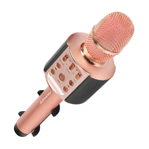 Microfon pentru Karaoke PROMATE VocalMic-4, Bluetooth, Acumulator, Rose gold