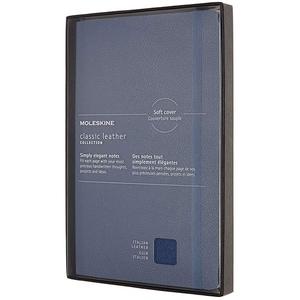 Carnet notite MOLESKINE Ruled Softback Notebook Classic Italian Leather, dictando, Large, 88 file, albastru