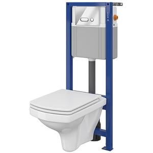 Set vas toaleta CERSANIT B137 SYSTEM 21, montaj incastrat, evacuare spate, cu capac, alb