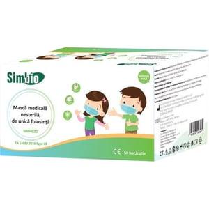 Set masti medicale nesterile de unica folosinta pentru copii SIMBIO SBH4821, 3 straturi, 50 bucati, albastru