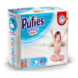 Scutece chilotei PUFIES Sensitive nr 5, Unisex, 12 - 18 kg, 42 buc
