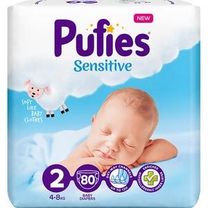 Scutece PUFIES Sensitive nr 2, Unisex, 4-8 kg, 80 buc