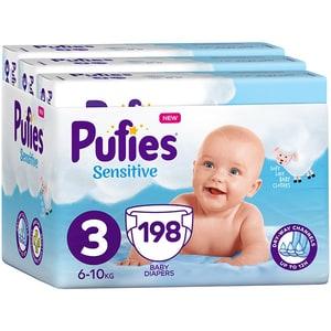 Scutece PUFIES Sensitive nr 3, Unisex, 6-10 kg, 198 buc