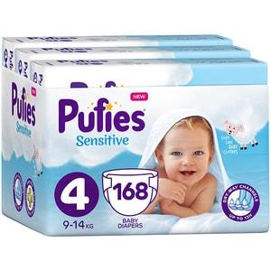 Scutece PUFIES Sensitive nr 4, Unisex, 9-14 kg, 168 buc